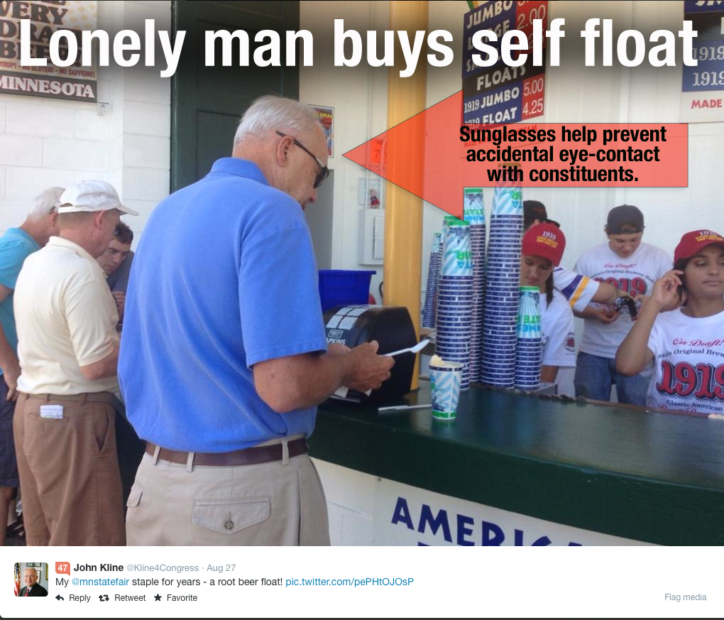 Rep. John Kline skips CD2 day at Fair, voters, goes incognito later to buy root beer float.
